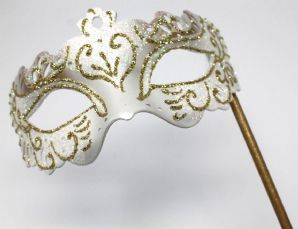 White and Gold Masquerade Mask  - Mask on a Stick | Masks and Tiaras